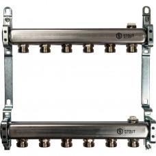 Stout Коллектор из нержавеющей стали для радиаторной разводки 6 вых.
