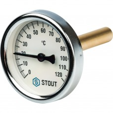 """Stout Термометр биметаллический с погружной гильзой. Корпус Dn 63 мм, гильза 75 мм 1/2"""""""