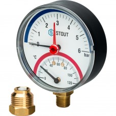 """Stout Термоманометр радиальный в комплекте с автомат. запорным клапаном. Корпус Dn 80 мм 1/2"""" 6 Bar"""