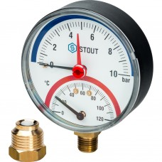 """Stout Термоманометр радиальный в комплекте с автомат. запорным клапаном. Корпус Dn 80 мм 1/2"""" 10 Bar"""