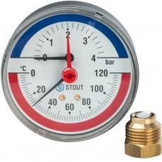 """Stout Термоманометр аксиальный в комплекте с автомат. запорным клапаном. Корпус Dn 80 мм 1/2"""" 4 Bar"""