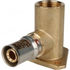 """Stout Угольник настенный с креплением удлинённый 1/2""""х16 для металлопластиковых труб прессовой"""
