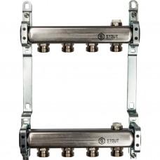 Коллектор из нержавеющей стали для радиаторной разводки 4 вых.