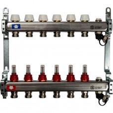 Stout Коллектор из нержавеющей стали с расходомерами, с клапаном вып. воздуха и сливом 6 вых.